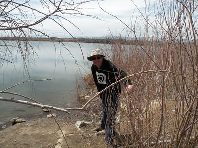 Having fun as we walk around the lake